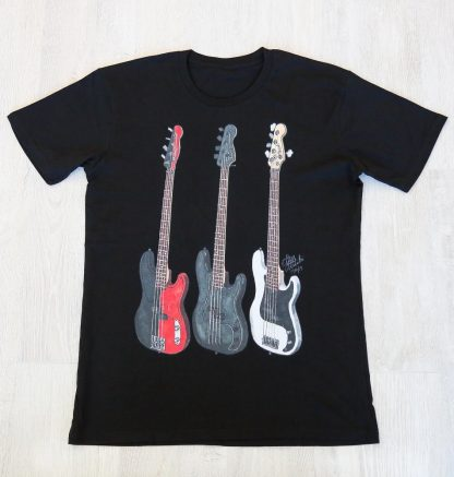 T-Shirt Only with artwork of Zachary Merrick's Fender Precision Basses